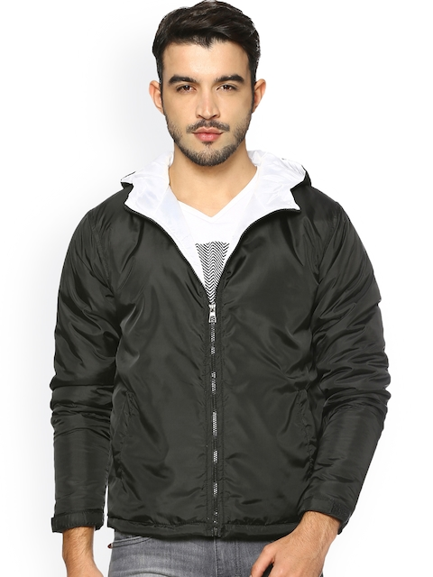 Campus Sutra Men Black Solid Biker Jacket
