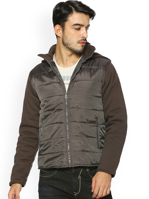 Campus Sutra Men Olive Green Solid Quilted Jacket