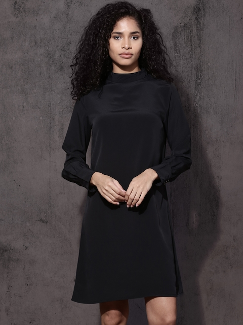 Roadster Women Black Solid A-Line Choker Dress