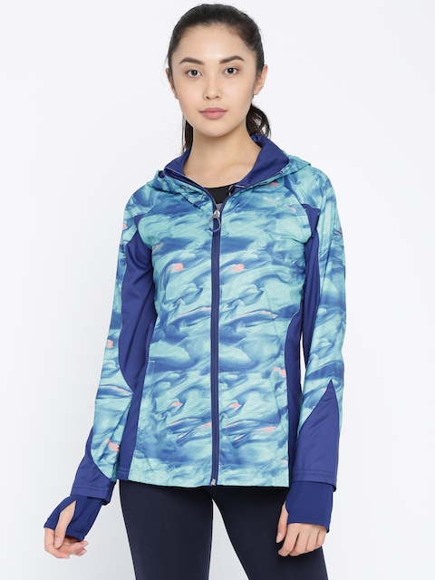 Puma Women Blue Hooded Printed LastLap Graphic W Sporty Jacket