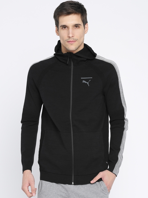 Puma Men Black Solid EvoKNIT FZ Hooded Sporty Jacket
