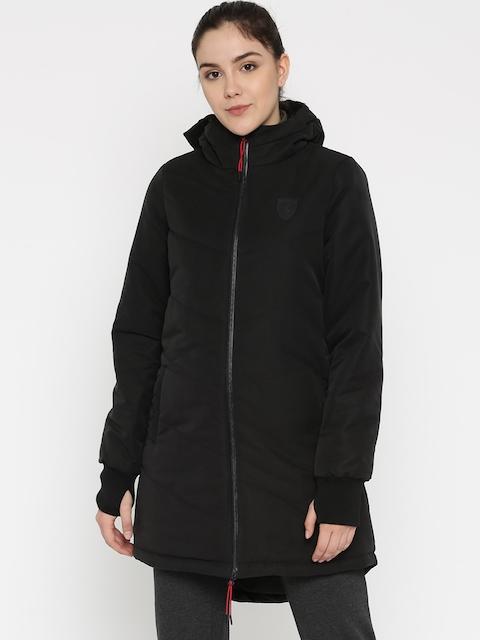 Puma Women Black Ferrari Vent Solid Padded Hooded Jacket