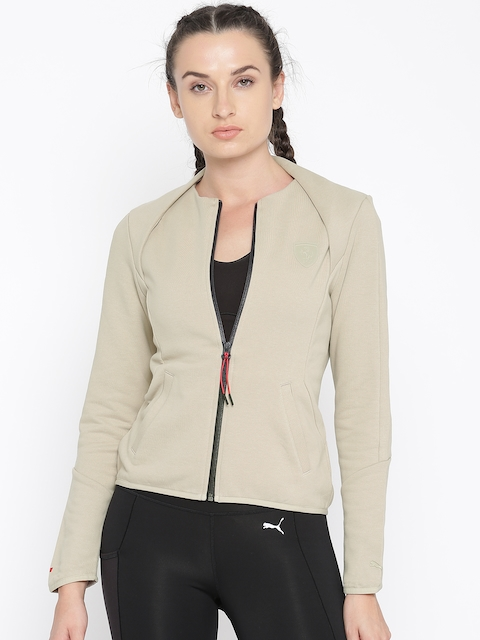 Puma Women Beige Solid Sporty Ferrari T7 Jacket