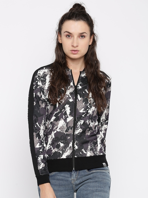 Puma Women Black & Grey Printed AOP Archive T7 Track Sporty Jacket