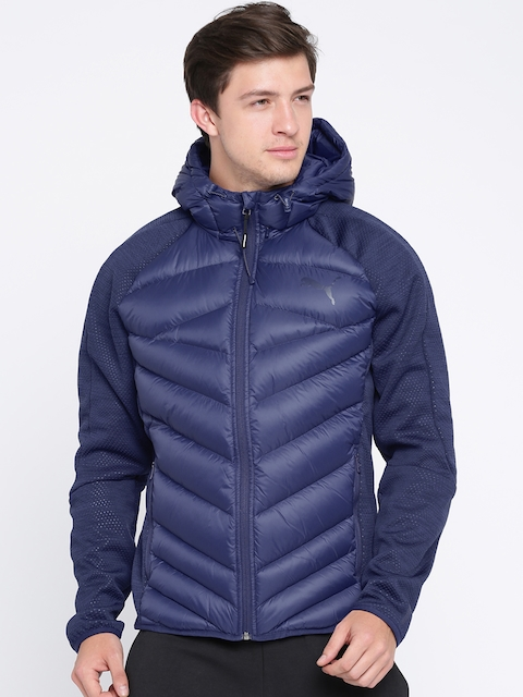 Puma Men Blue Solid Windcheater and Water Resistant Puffer Jacket
