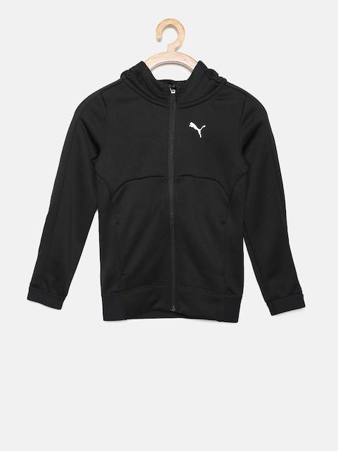 Puma Boys Black Solid Gym FZ Hoody Sporty Jacket