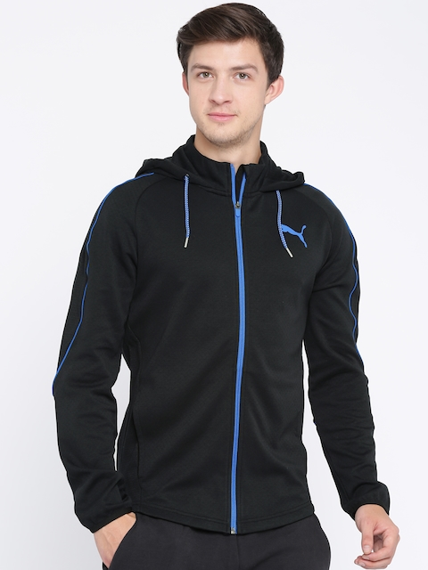 Puma Men Black Solid Hooded Sporty Jacket