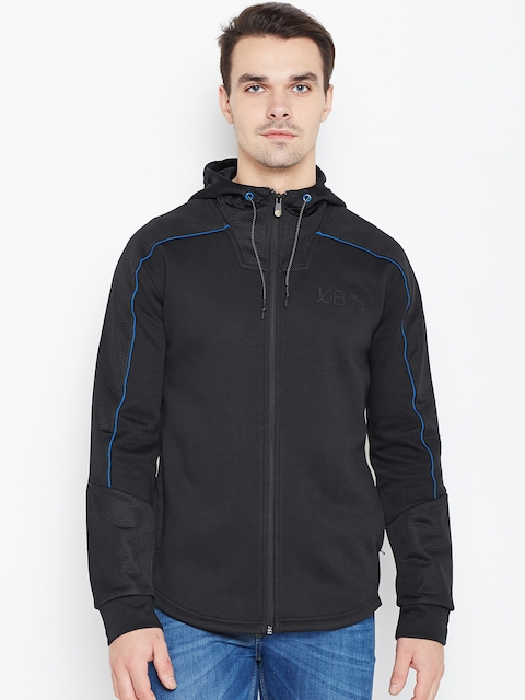 Puma Men Black UB FZ Solid Hooded Tailored Jacket