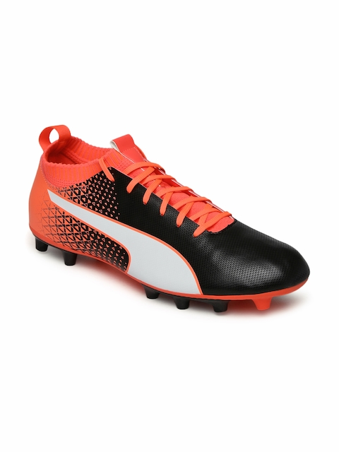 Puma Men Black & Coral evoKNIT FTB AG Football Shoes