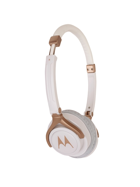 Motorola White & Gold-Toned Wired Pulse 3 Over-Ear Headphones 5012786037052