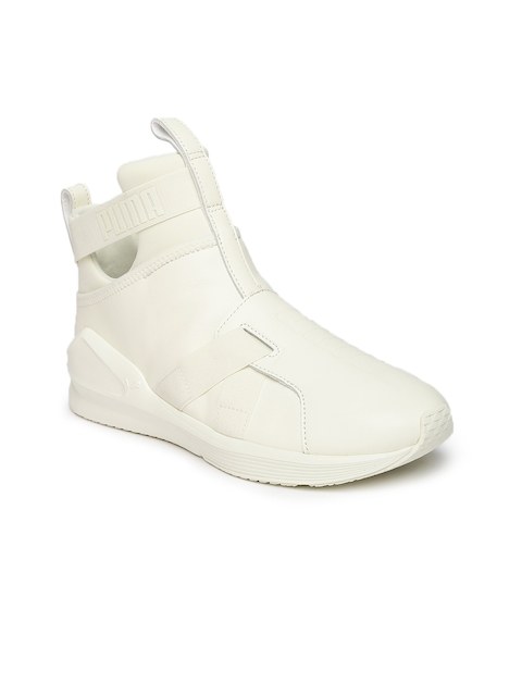 Puma Women White Leather Mid-Top Fierce Strap Training or Gym Shoes