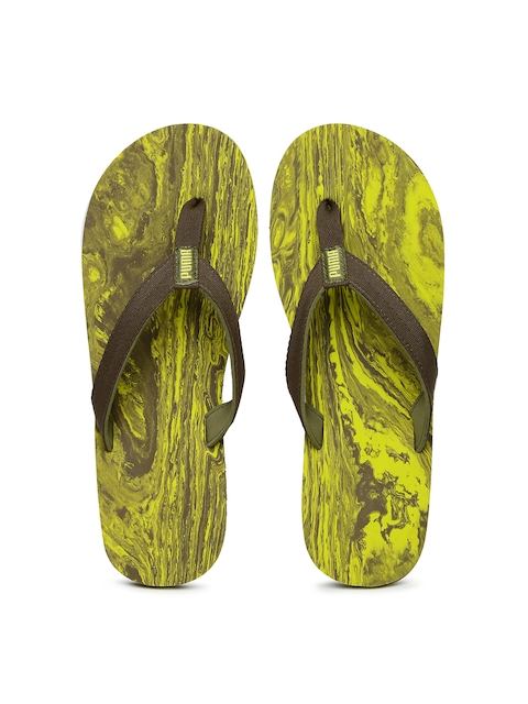 Puma Men Olive Green & Yellow Flip-Flops