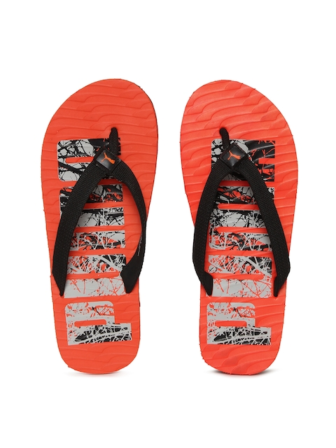 Puma Unisex Black & Orange Miami Flip-Flops