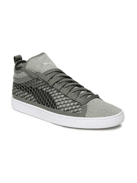 Puma Men Grey Basket Classic NETFIT Mid-Top Sneakers