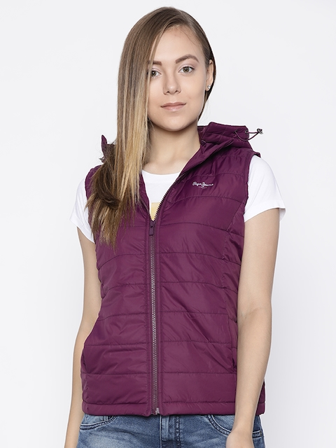 Pepe Jeans Women Purple Solid Padded Jacket