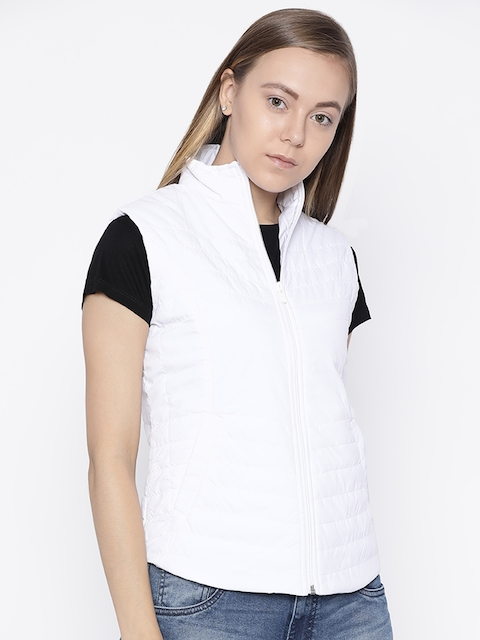 Pepe Jeans Women White Solid Quilted Jacket