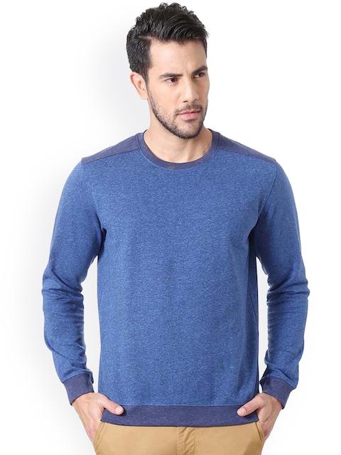 Peter England Men Blue Solid Sweatshirt