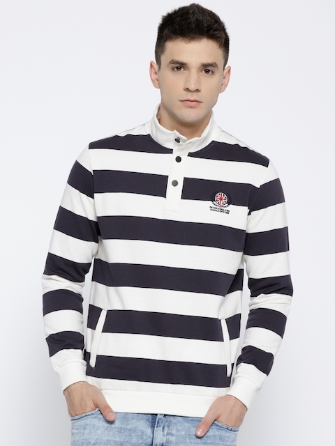 Peter England Men Black & Off-White Striped Sweatshirt