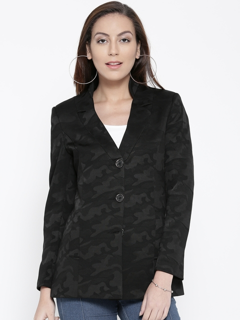 Fort Collins Black Patterned Single-Breasted Coat