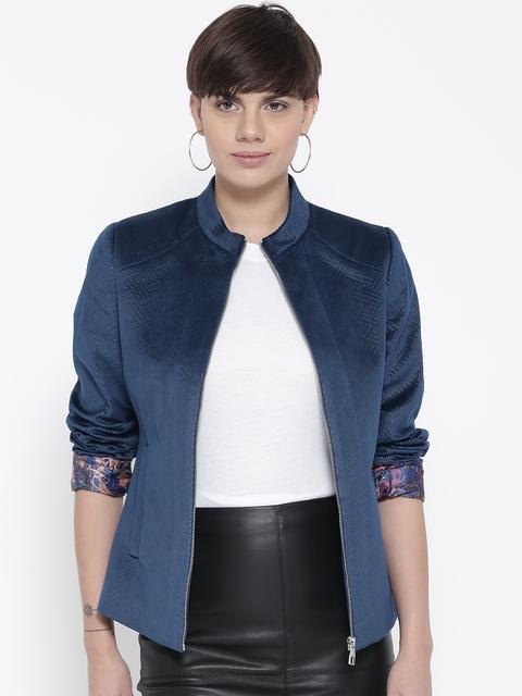 Fort Collins Women Blue Self Design Tailored Jacket