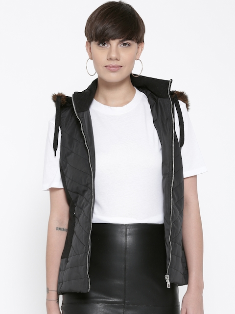 Fort Collins Women Black Solid Sleeveless Parka Jacket with Detachable Hood