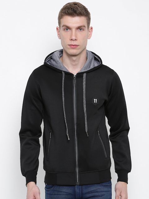 Fort Collins Men Black Solid Hooded Sweatshirt