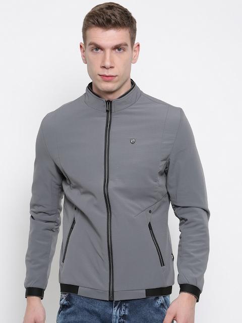Fort Collins Men Grey Solid Tailored Jacket