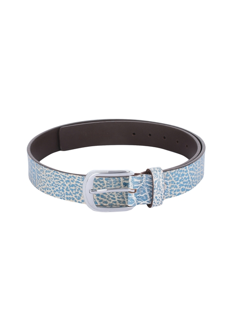 Alvaro Castagnino Men Blue & White Printed Leather Belt