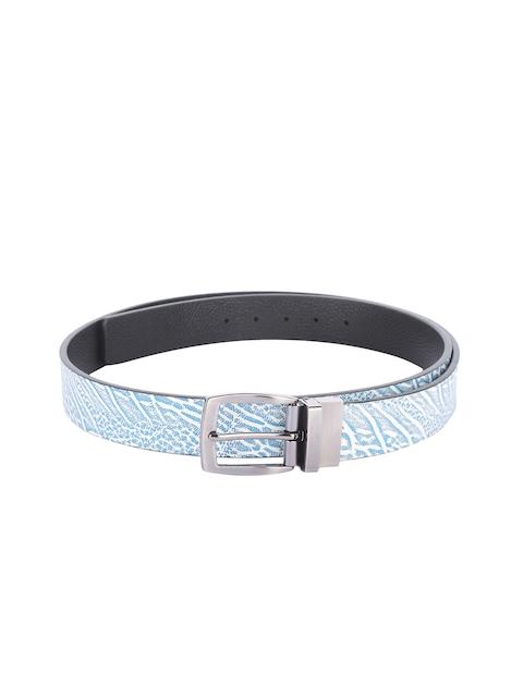 Alvaro Castagnino Men Blue & Black Printed Leather Belt