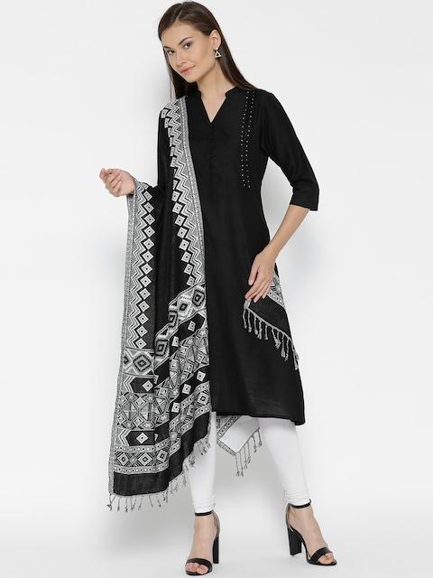WEAVERS VILLA Black & White Woven Design Stole