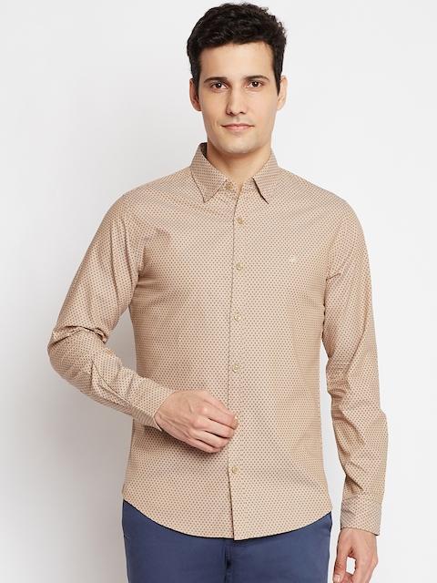 United Colors of Benetton Men Beige Slim Fit Printed Casual Shirt