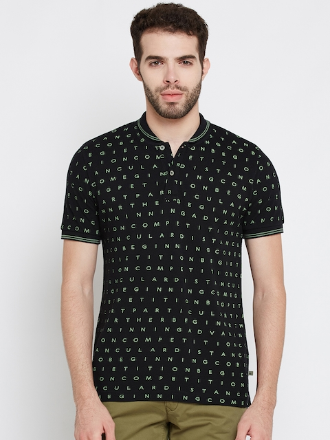 United Colors of Benetton Men Black Printed Polo Collar T-shirt