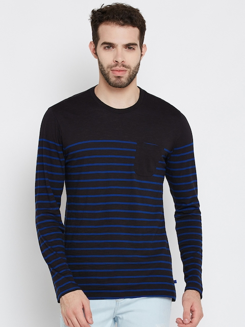 United Colors of Benetton Men Black & Blue Striped Round Neck T-shirt