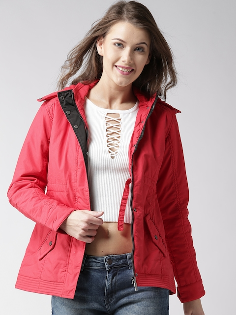 Okane Women Red Solid Hooded Tailored Jacket