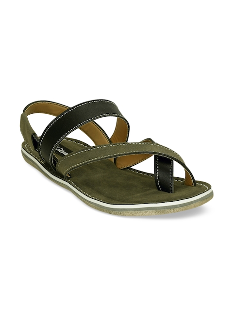 Get Glamr Men Green & Black Sandals