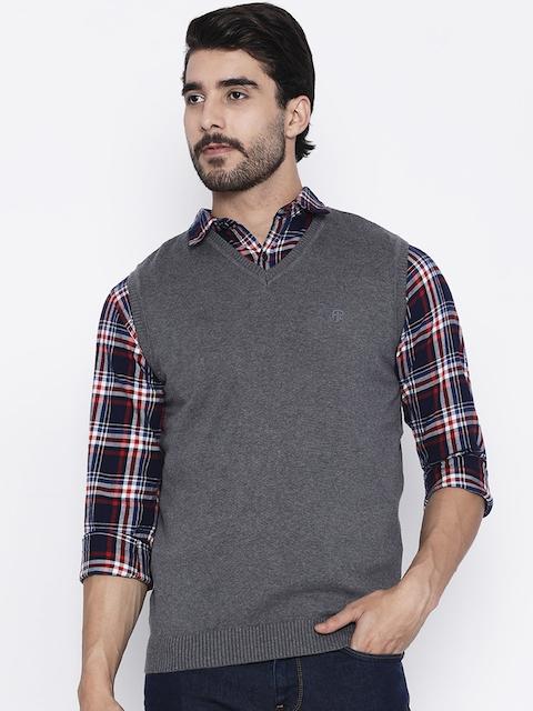 Pepe Jeans Men Grey Solid Sweater Vest