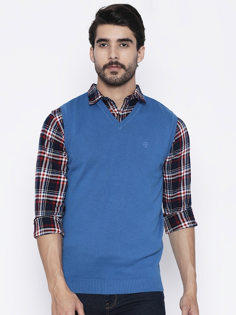 Pepe Jeans Men Blue Solid Sweater Vest