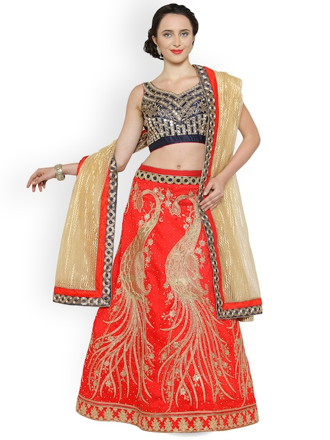 Chhabra 555 Red Heavy Embroidered Lehenga with Mirror-Work