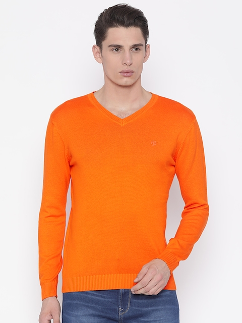 Pepe Jeans Men Orange Solid Pullover