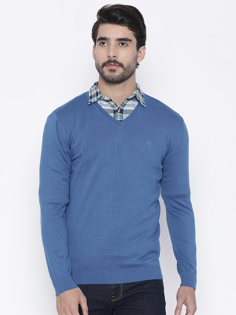 Pepe Jeans Men Blue Solid Pullover Sweater