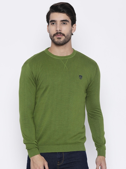 Pepe Jeans Men Green Solid Pullover Sweater