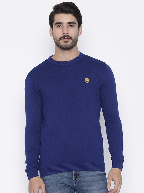 Pepe Jeans Men Navy Blue Solid Sweater