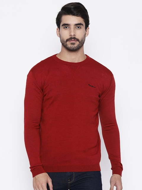 Pepe Jeans Men Red Solid Pullover Sweater