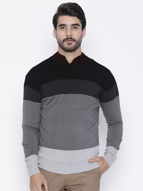 Pepe Jeans Men Grey & Black Colourblocked Sweater