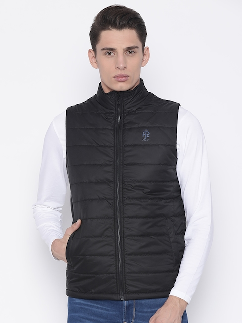 Pepe Jeans Men Black Solid Quilted Jacket