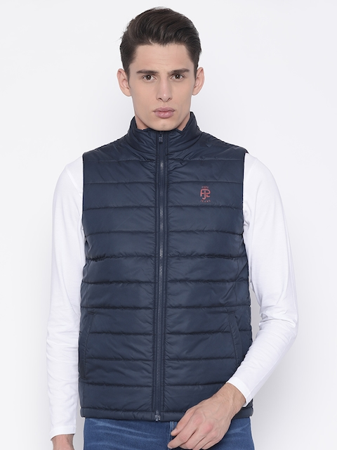Pepe Jeans Men Navy Blue Solid Quilted Jacket