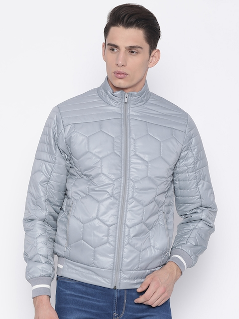 Pepe Jeans Men Grey Solid Quilted Jacket