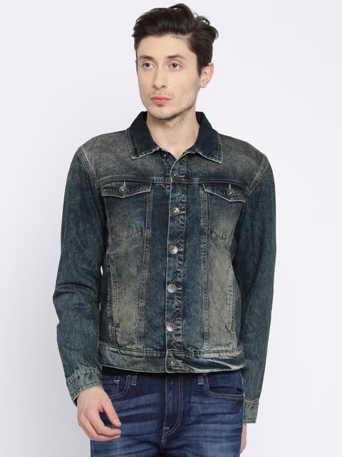 Pepe Jeans Men Blue Solid Denim Jacket