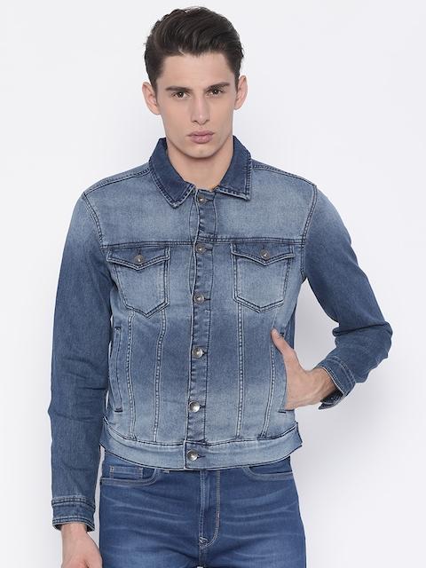 Pepe Jeans Men Blue Solid Faded Denim Jacket