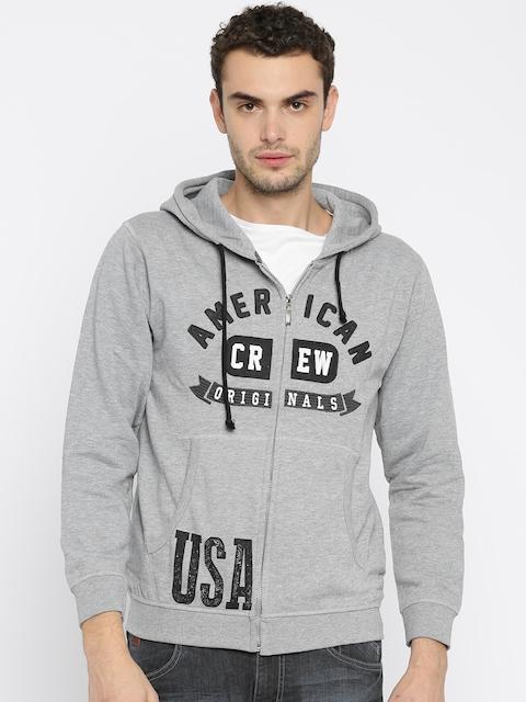 American Crew Men Grey Melange Printed Hooded Sweatshirt